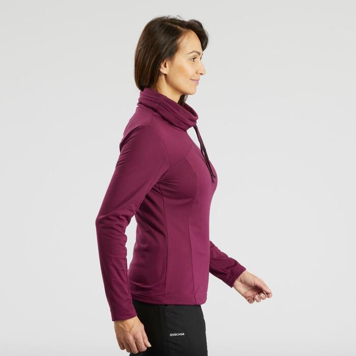 Camiseta de manga larga de senderismo nieve mujer SH100 warm violeta