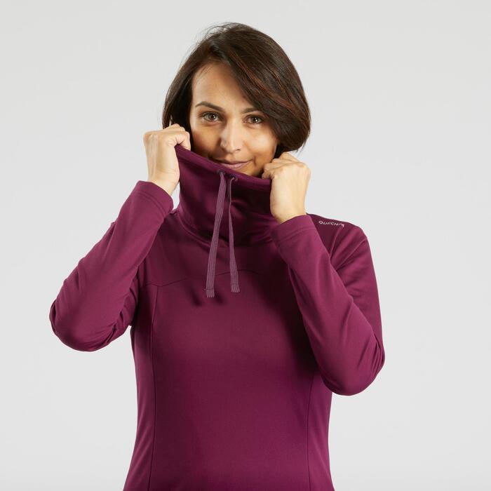 Wandelshirt met lange mouwen voor de sneeuw dames SH100 warm paars