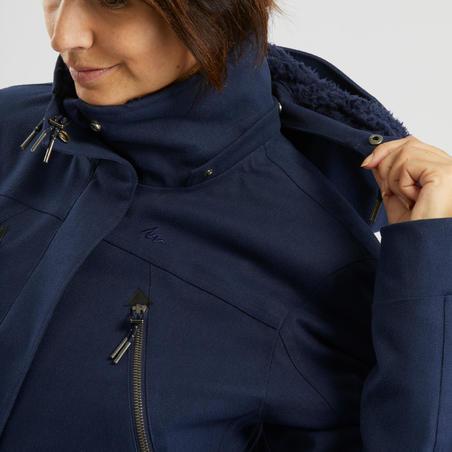Chamarra cálida impermeable de senderismo nieve mujer SH500 x-warm azul