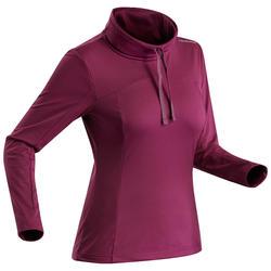 女款雪地健行保暖長袖T恤SH100-紫色