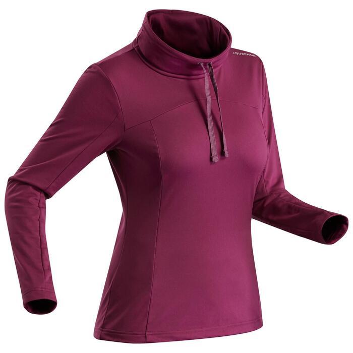 Women's Long Sleeved Snow Hiking T-Shirt SH100 Warm - Purple