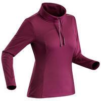 T-shirt de randonnée neige manches longues femme SH100 chaud violet