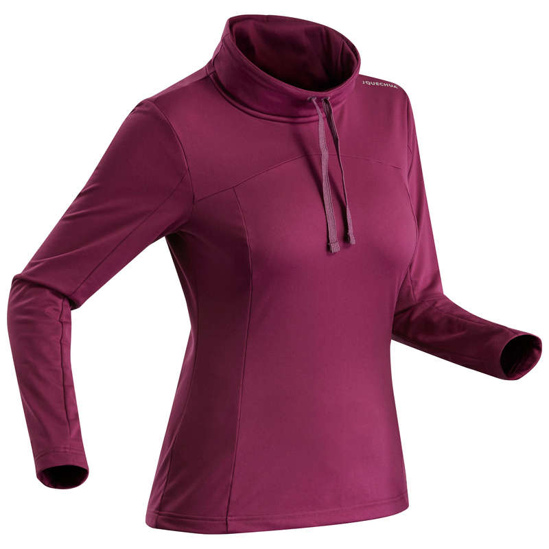 ABBIGLIAMENTO INVERNALE  MONTAGNA DONNA Sport di Montagna - Shirt donna SH100 WARM viola QUECHUA - Trekking donna