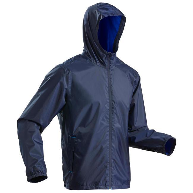 Men's Rain Jacket SH100 (Warm) - Navy blue