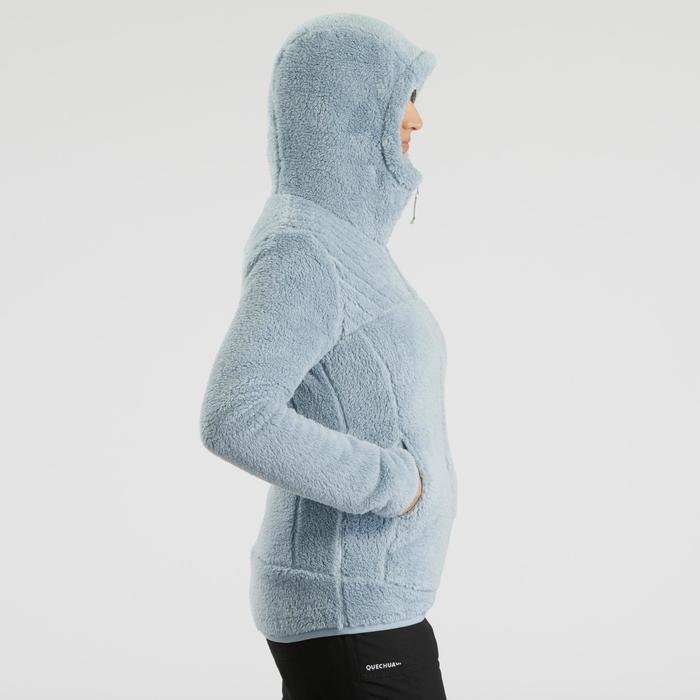 Chaqueta polar de senderismo nieve mujer SH100 ultra-warm azul glaciar