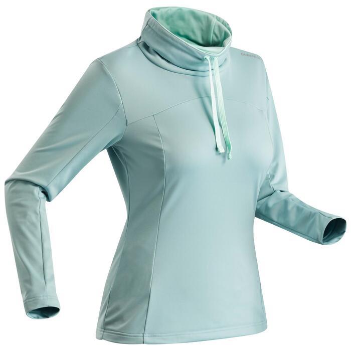 Langarmshirt Winterwandern SH100 Warm Damen eisblau