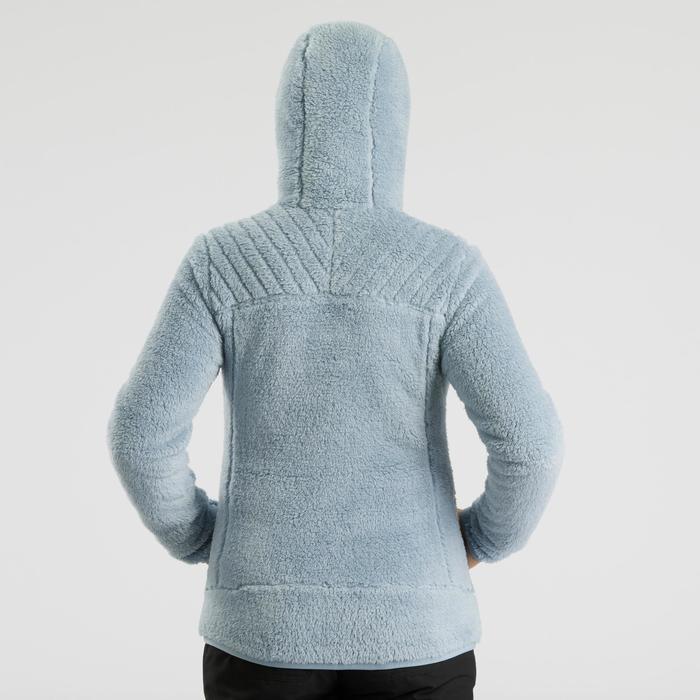 女款極致保暖雪地健行刷毛外套SH100-藍色冰雪款