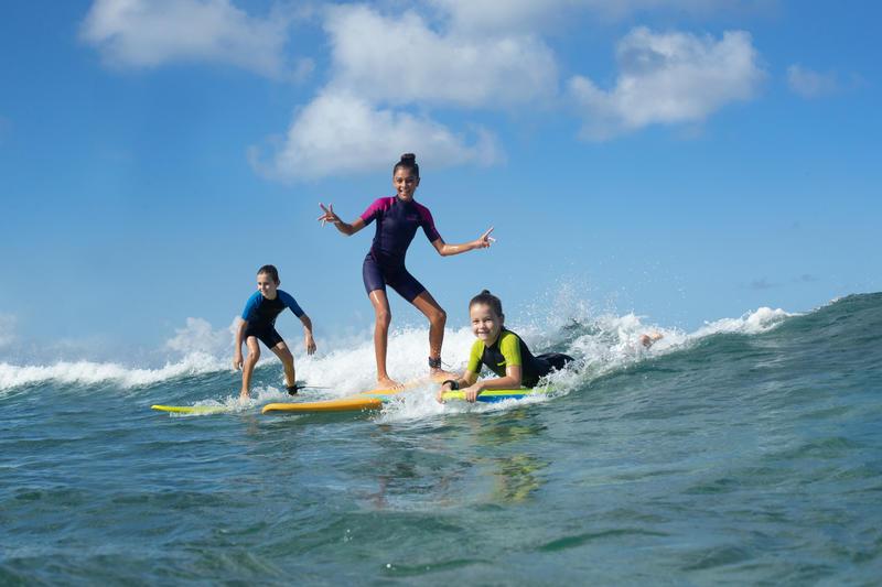 Surf Shorty 100 enfants de la combinaison de 1,5 mm de néoprène - Bleu/Jaune - 8 Ans