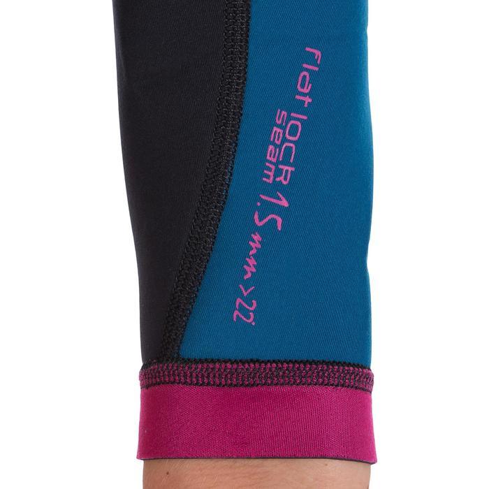 Haut de combinaison surf néoprène Top 500 Manches Longues Femme Bleu Rose - 164989