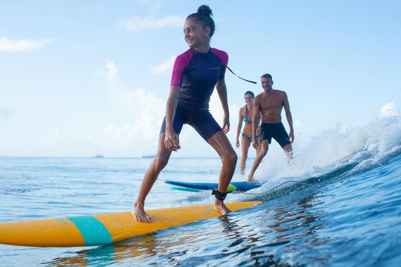 100 Surf Shorty Children's Wetsuit 1.5mm neoprene - Purple/Pink