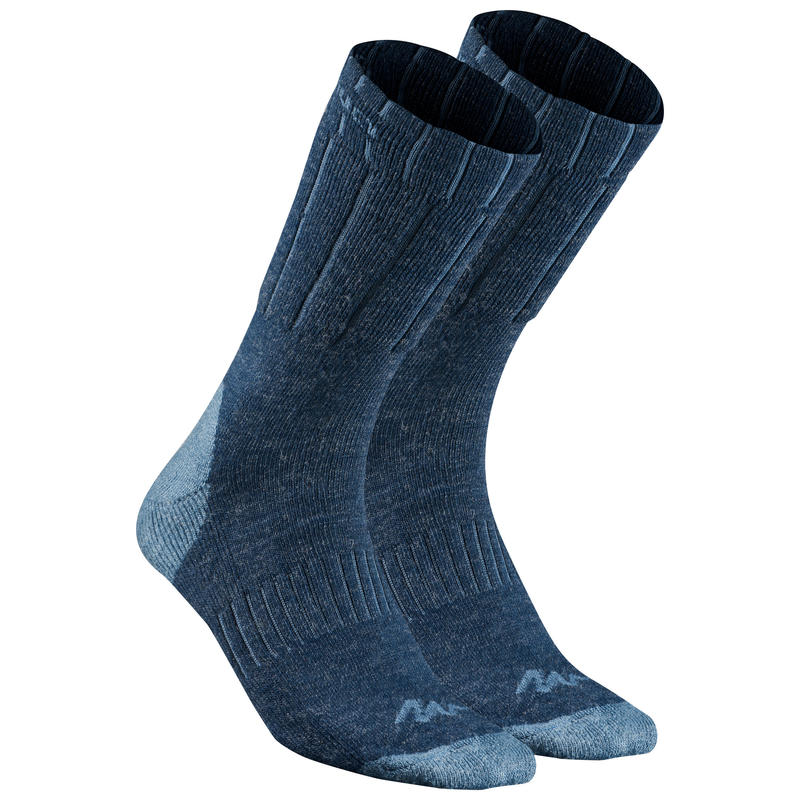 Calcetines de senderismo nieve adulto SH100 warm mid azul.