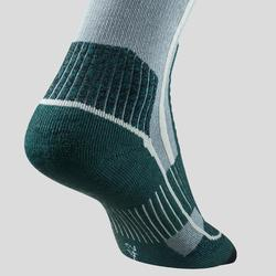 成人款超保暖雪地健行中筒襪SH520-灰色/綠色。