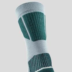 Chaussettes chaudes de randonnée adulte SH520 x-warm mid grises vertes.