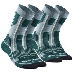 Adult Snow Hiking Socks X-Warm Mid SH520 - Grey Green.