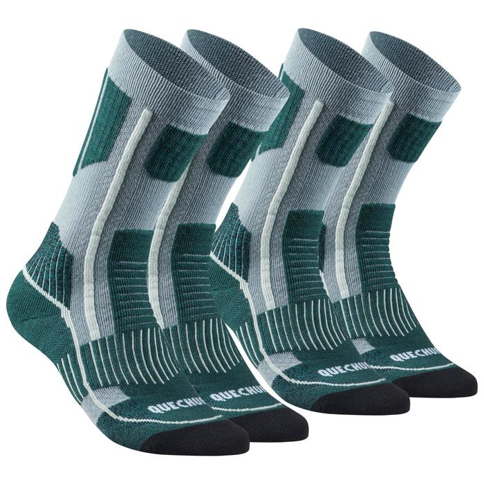 Adult Warm Mid-height Hiking Socks SH520 X-Warm x 2 Pairs