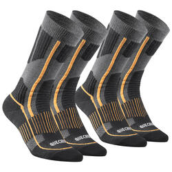 Adult Snow Hiking Socks X-Warm Mid SH520 - Black Orange.