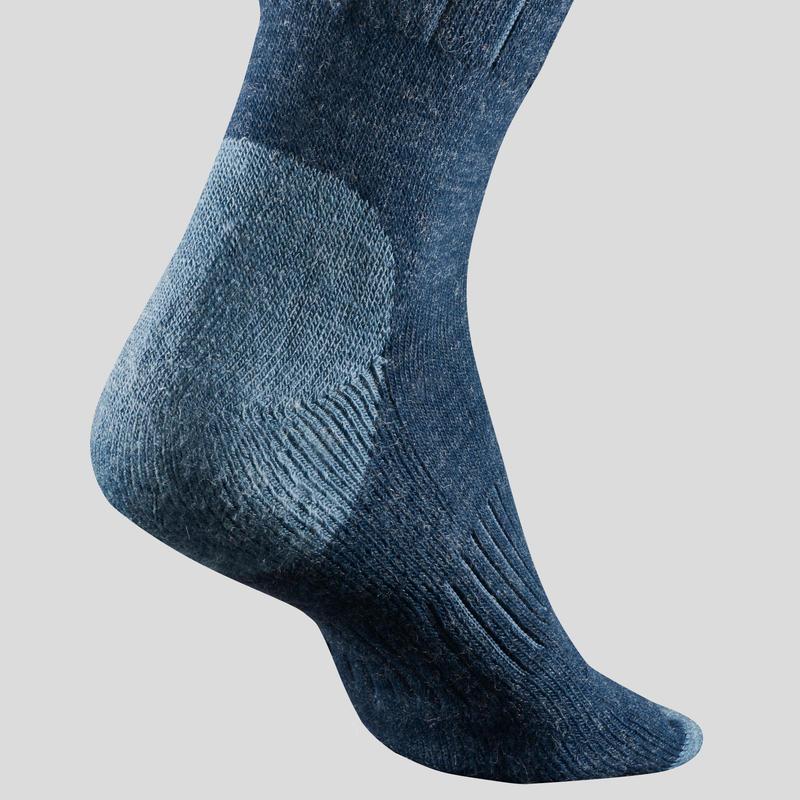 ถุงเท้าผู้ใหญ่ความยาวปานกลางสำหรับเดินป่ารุ่น SH100 (สีน้ำเงิน)