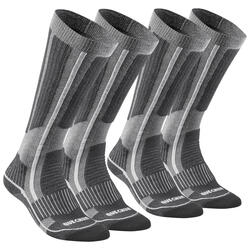 Adult warm hiking socks SH520 warm high - grey X2 pairs
