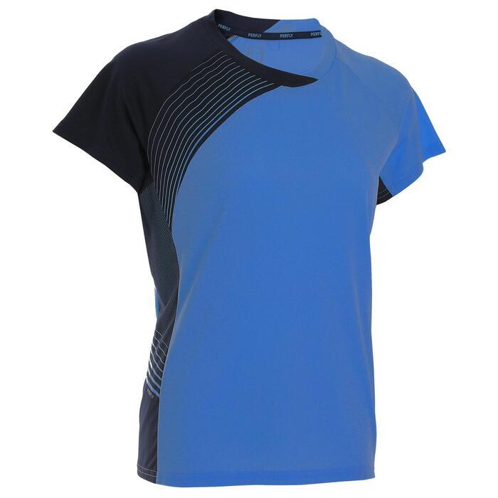 Camiseta de bádminton manga corta perfly 530 mujer azul