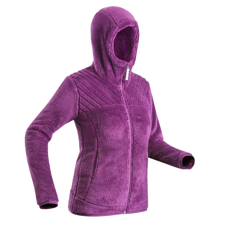 WOMEN SNOW HIKING WARM PANTS & FLEECES Hiking - SH100 W U-WARM VIOLET FLEECE QUECHUA - Hiking Clothes