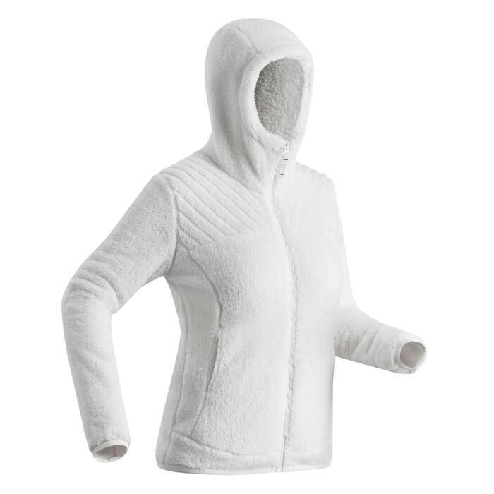 Chaqueta polar de senderismo nieve mujer SH100 ultra-warm blanco