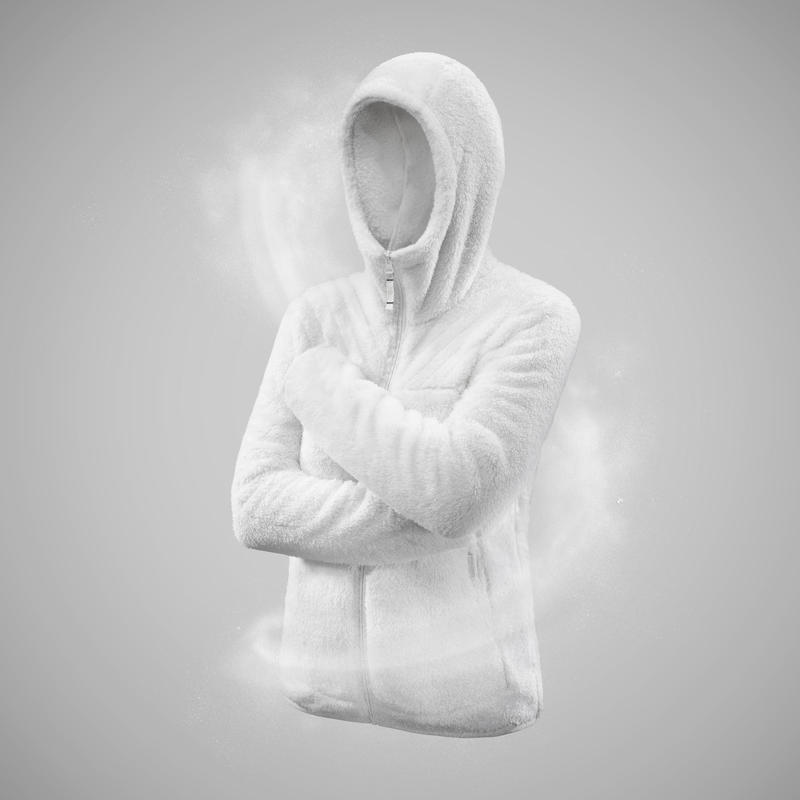 Chaqueta polar de senderismo nieve mujer SH100 ultra-warm blanca