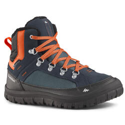 Children's warm lace-up snow hiking boots SH500 warm mid - Blue