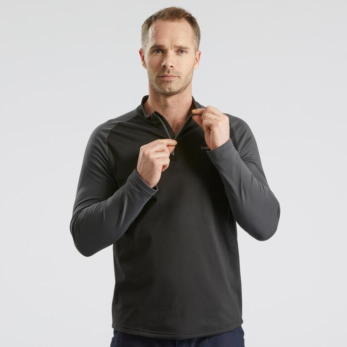 Tee-Shirt de randonnée neige manches longues homme SH100 warm noir.