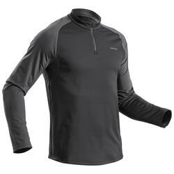 Camiseta manga larga de senderismo nieve hombre SH100 warm negro.