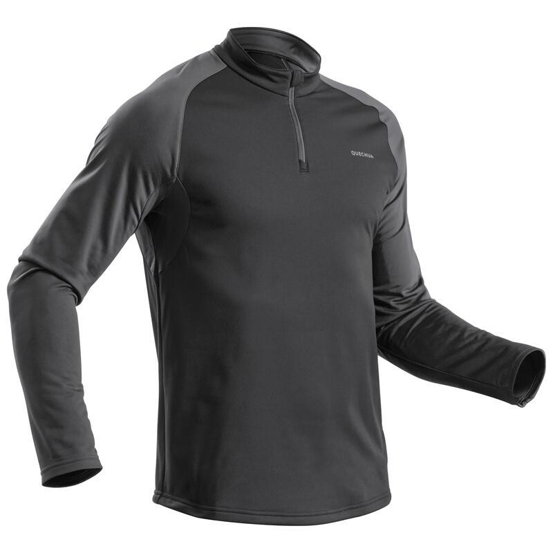 Pánské turistické hřejivé tričko s dlouhým rukávem SH100 Warm černé