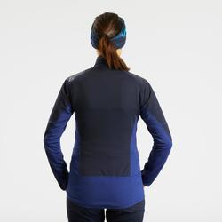 Warm snow hiking softshell jacket SH900 – blue.