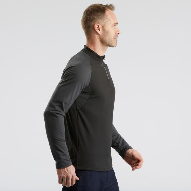 Men's Warm Long-Sleeve Snow Hiking T-shirt SH100 - Black.