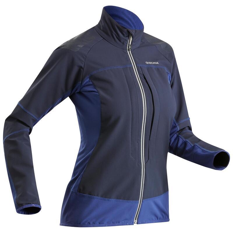 Dámská turistická softshellová bunda SH900 Warm modrá