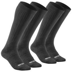 Chaussettes chaudes de randonnée adulte hautes SH100 warm high noires X 2 paires