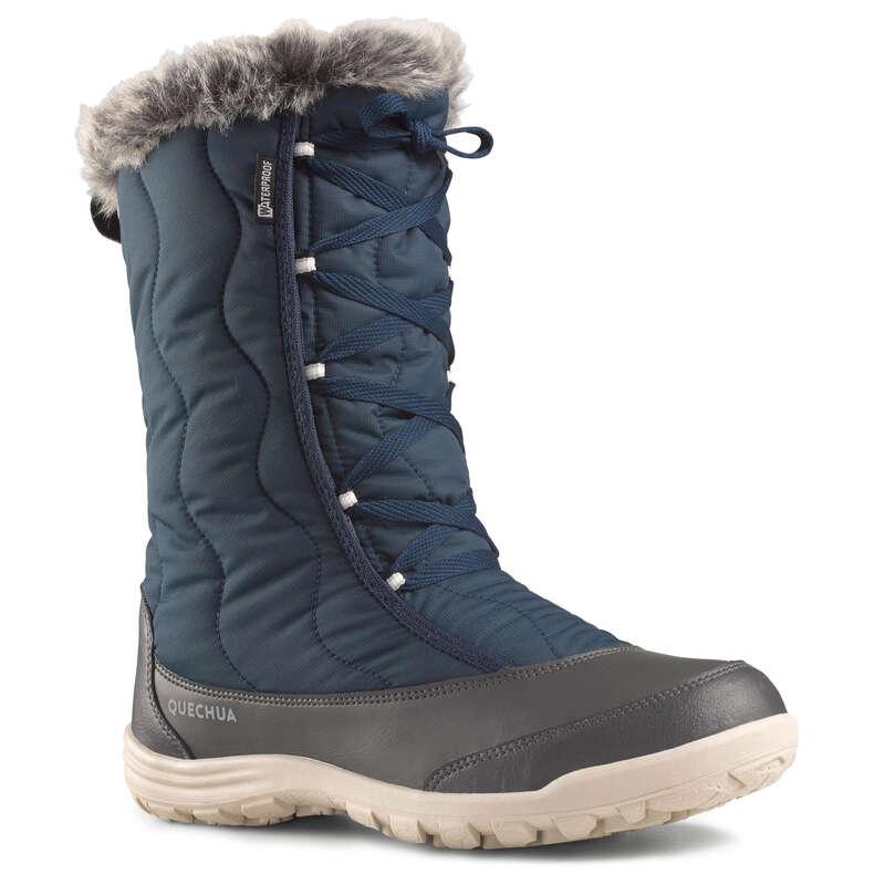 WOMEN SNOW HIKING WARM BOOTS Hiking - SH500 X-Warm Laces - Blue QUECHUA - Outdoor Shoes