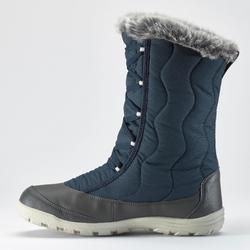 女款超保暖雪地健行鞋帶式健行靴SH500-藍色