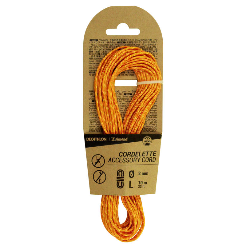 Climbing and Mountaineering Cordelette 2 mm x 10 m - Orange