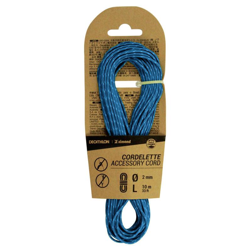 Klinšu kāpšanas un alpīnisma virve, 2 mm x 10 m, zila