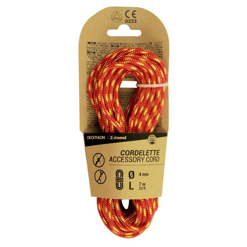 Climbing and Mountaineering Cordelette 4 mm x 7 m - Red