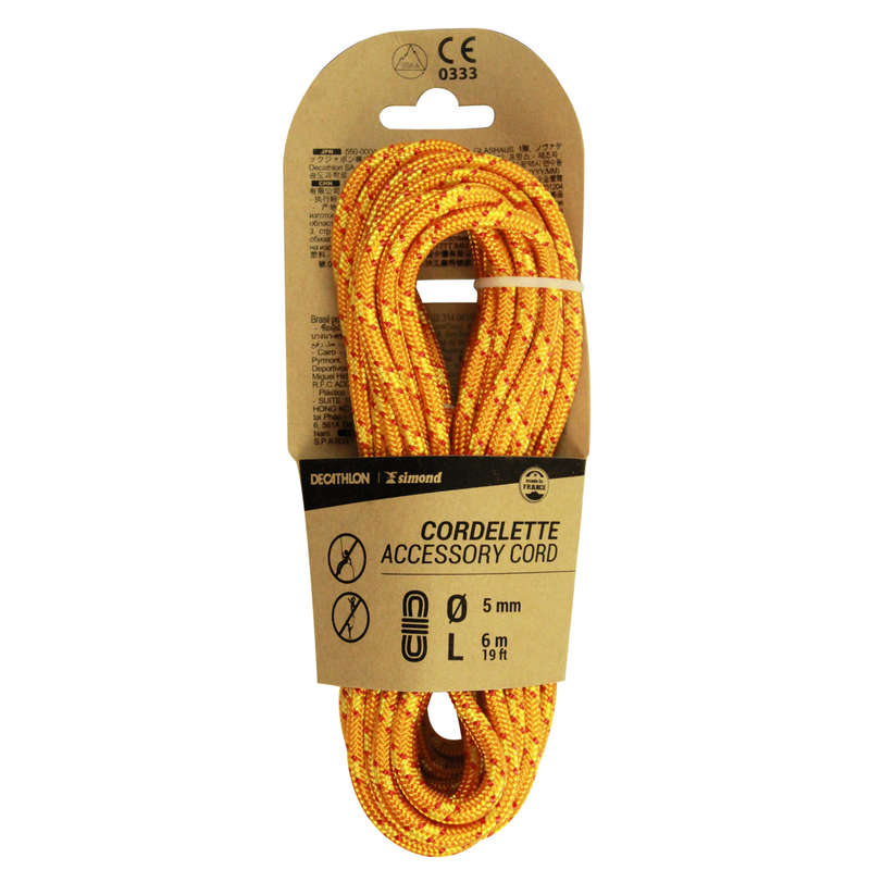 ACCESS CORDS & STATIC ROPES Climbing - CORDELETTE 5 MM x 6 M Orange SIMOND - Climbing
