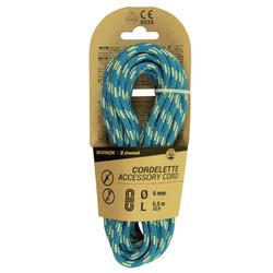攀岩與登山用輔助繩6 mm x 5.5 m-藍色