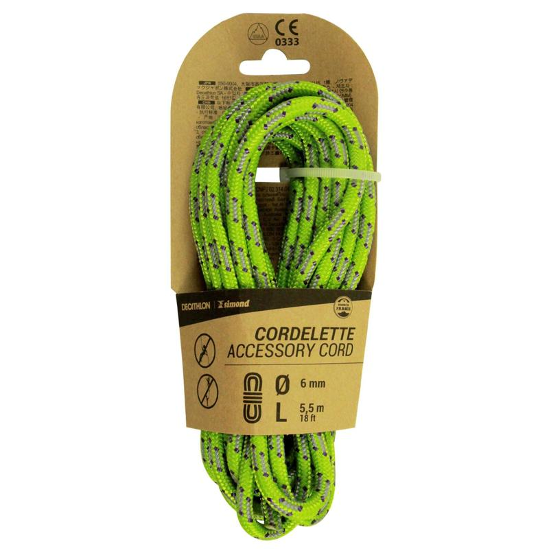 Climbing and Mountaineering Cordelette 6 mm x 5.5 m - Green