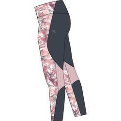 Ademende legging voor gym meisjes S500 synthetisch roze/print