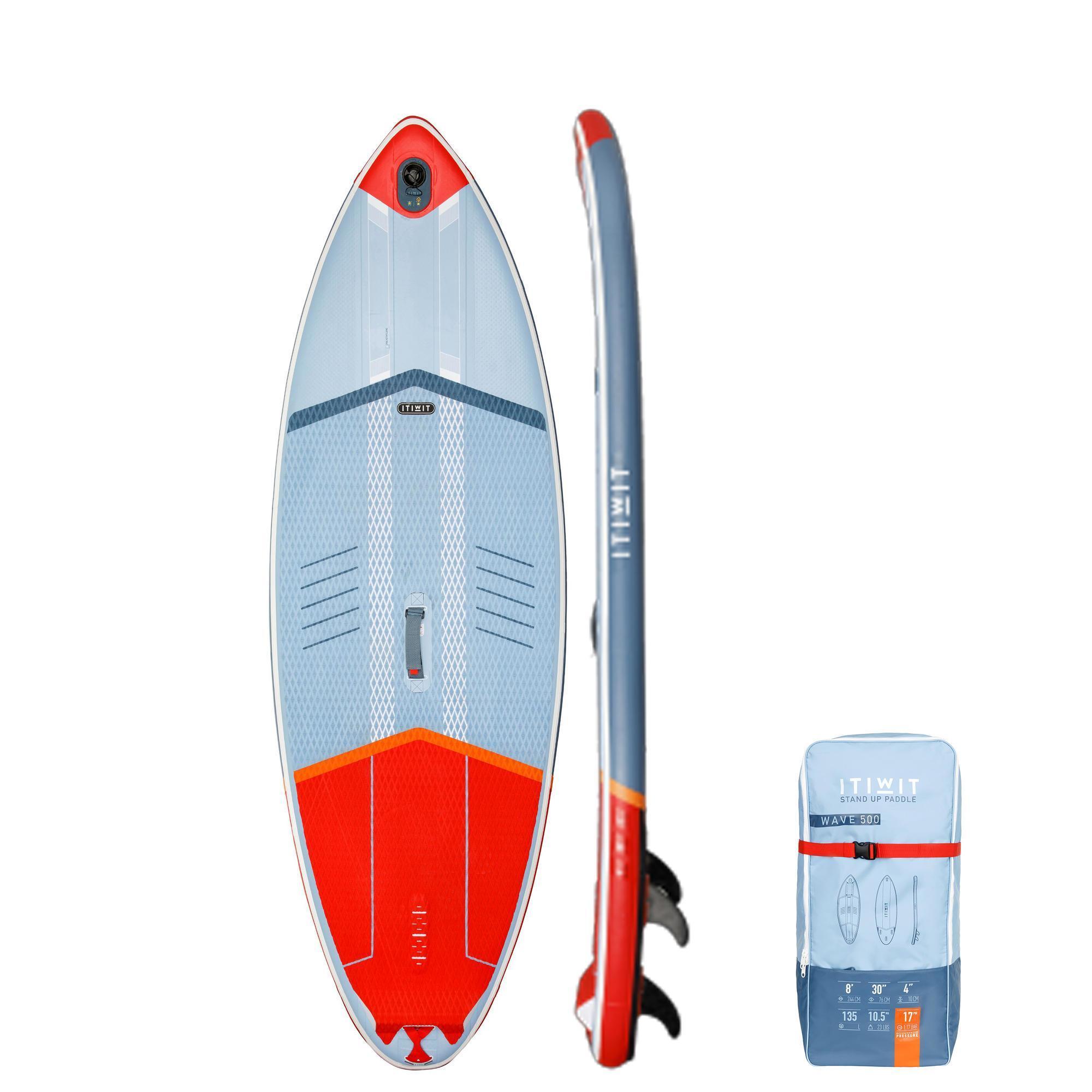 Stand Up Paddle Surfboard aufblasbar rot und weiß günstig kaufen Wellenreiten