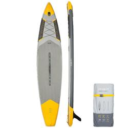 """充氣式旅行立式划槳板500 12'6到32""""-黃色"""