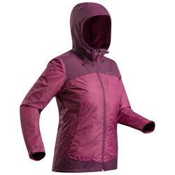 Chaqueta cálida impermeable de senderismo nieve mujer SH100 x-warm violeta