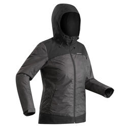 Chaqueta cálida impermeable de senderismo nieve mujer SH100 x-warm negro