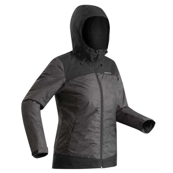 Chaqueta de senderismo nieve mujer SH100 x-warm negro