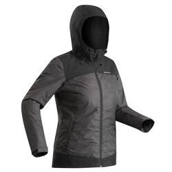Veste chaude imperméable de randonnée neige femme SH100 x-warm noir