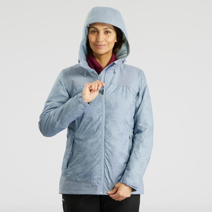 Warme waterdichte wandeljas voor de sneeuw dames SH100 X-warm ijsblauw